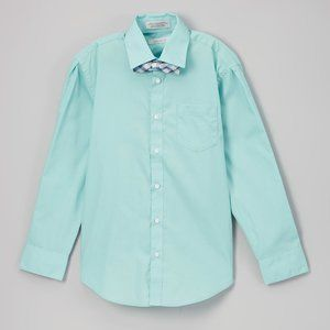 Perry Ellis Aqua Haze Button-Down Dress Shirt